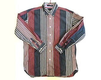 Vintage 1990s Long Sleeve TOMMY HILFIGER Striped Multicolor Button Up Shirt