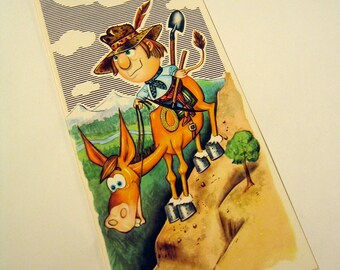 """Cowboy on a Mule Vintage Illustration Greeting Card """"You Got the Ass for it!"""" Happy Birthday"""