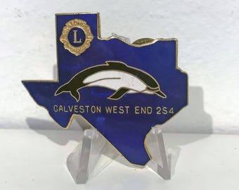 "True Vintage Beautiful Dolphin Lions Club Galveston, Texas ""West End 2S4"" Enamel Pin"