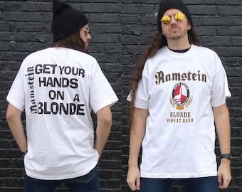 Vintage Ramstein Blonde Wheat Beer T-shirt Size XL SCREEN STARS Original 1990s