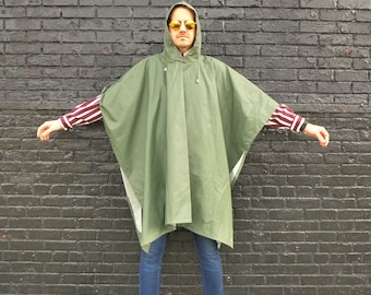 Vintage Army Drab Green Hooded Raincoat / Parka / Jacket