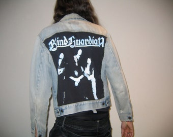 Customized Vintage Levi's Orange Tab Denim Jacket w/Blind Guardian Back Patch & Robocop Button. A Beautiful Thing of Pure Love