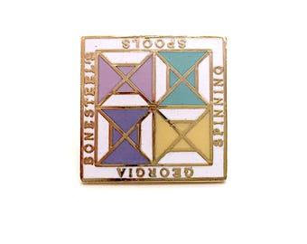 True Vintage Enamel Pin Georgia Bonesteel's Spools & Spinners Quilting w/Cool Geometrical Patterns