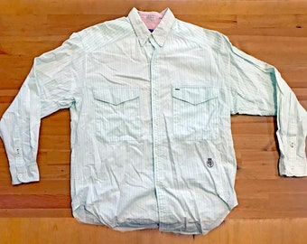 Vintage 1990s Long Sleeve TOMMY HILFIGER Striped Button Up Shirt Mens M