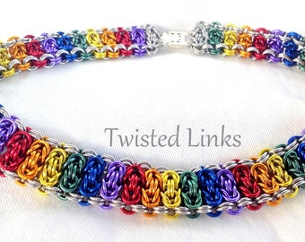Rainbow chainmaille collar choker anodized aluminum Byzantine Ladder