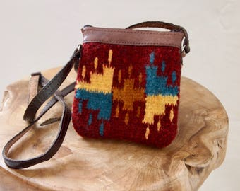 vintage 70s DOUBLE SIDED leather TAPESTRY bag