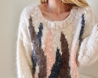 vintage PASTEL KNIT TEXTURED sweater