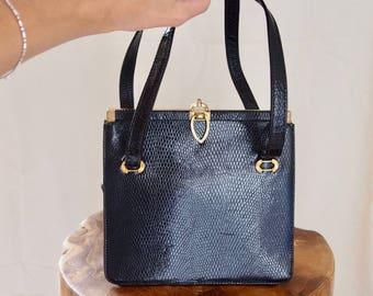 vintage black REPTILE MIDCENTURY handbag