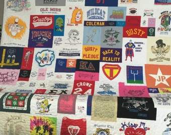 Life Quilt, Asymmetrical Custom, Memory Quilt, Custom Order Quilt, You Pick Size - Using Your Shirts - DEPOSIT ONLY