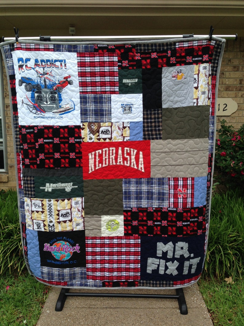 DEPOSIT ONLY Custom Order Quilt Memory Quilt Using Your Shirts T-shirt Quilts Custom You Pick Size
