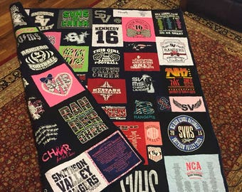 Tee Shirt Quilt Double sided, Custom Puzzle Design, Memory Quilt Custom Order Quilt You Pick Size - Using Your Shirts-DEPOSIT ONLY