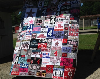 Life Quilt, Puzzle Design, Memory Quilt Custom Order Quilt You Pick Size - Using Your Shirts-DEPOSIT ONLY
