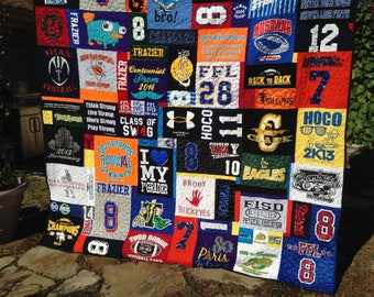 T shirt Quilt Asymmetrical Custom, Memory Quilt, Custom Order Quilt, You Pick Size - Using Your Shirts - DEPOSIT ONLY