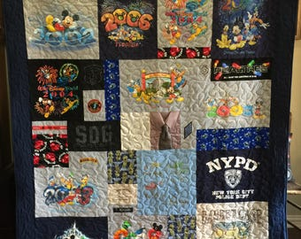 Grief Puzzle Style Quilt made from clothing  for Maria G (cousin) - DEPOSIT ONLY