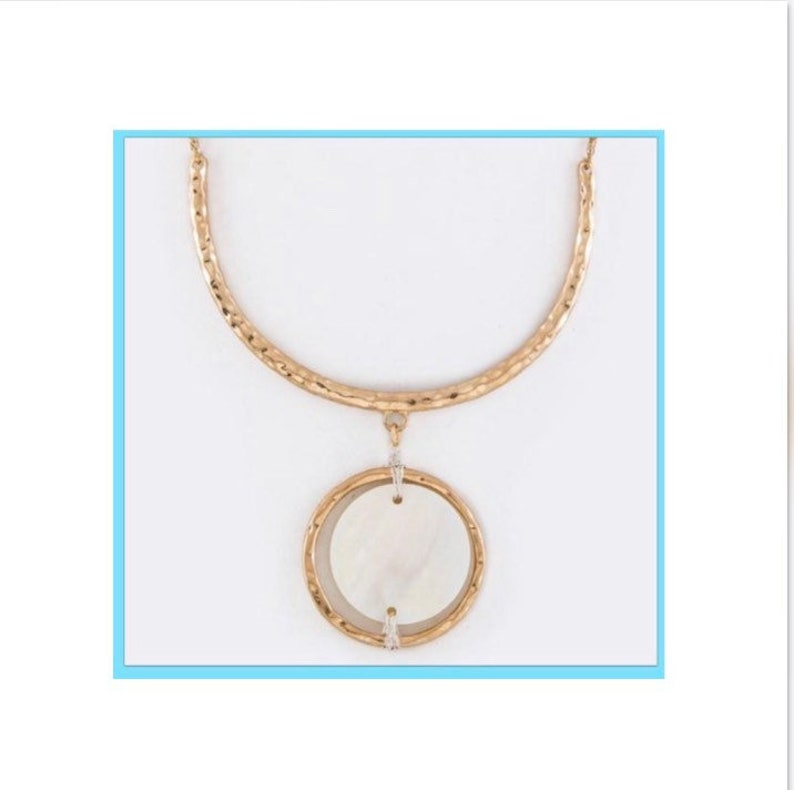 Hammered Gold Mother Of Pearl Necklace