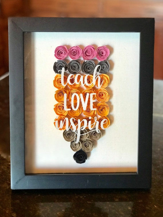 Shadow box with Hand Rolled Paper Flowers Rosettes Teacher