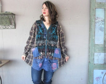 fd892de20c6 upcycled clothing plus size shirt country Patchwork Jacket