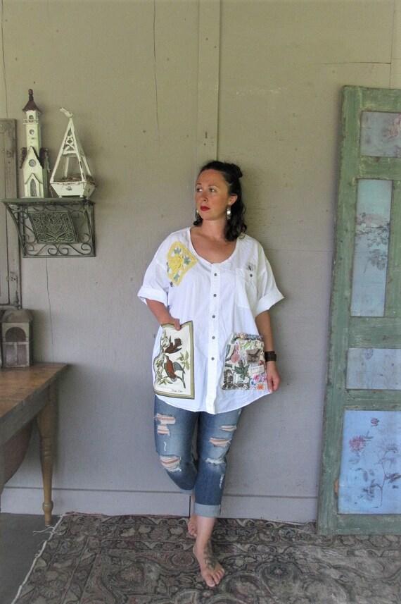 Plus Size Upcycled Boyfriend Shirt Cotton Clothing Summer Etsy