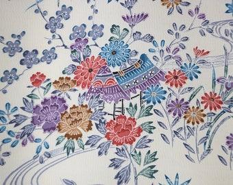 Vintage Japanese Kimono Fabric - Floral Bingata chirimen silk kimono fabric