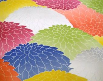 Vintage Japanese kimono fabric - Colourful Kyo Yuzen Kiku Tango chirimen silk kimono fabric