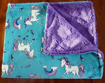 Minky Baby Blanket -Rainbow Magic Unicorn Cuddle Minky - Jewel Lattice Cuddle Minky