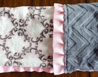 Minky Blanket - Pink and Gray Damask Minky - Embossed Gray Minky - Satin Ruffle Trim