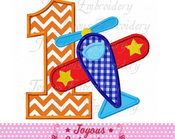 Instant Download Airplane Number 1 Applique Machine Embroidery Design NO:1749