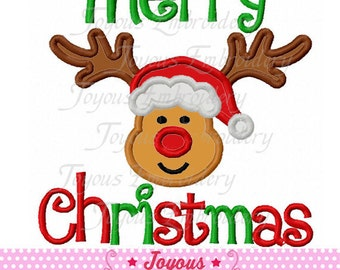 Instant Download Merry Christmas Reindeer Applique Embroidery Design NO:1651