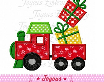 Instant Download Train Christmas Gift Applique Machine Embroidery Design NO:1876