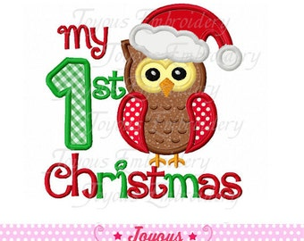 Instant Download My 1st Christmas Owl Applique Embroidery Design NO:1583