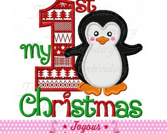 Instant Download My 1st Christmas with Penguin Applique Embroidery Design NO:2236