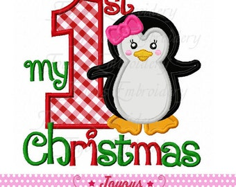 Instant Download My 1st Christmas with Penguin  Applique Embroidery Design NO:2065