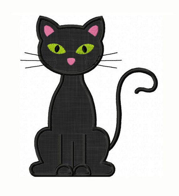 Instant Download Black Cat Applique Machine Embroidery Design Etsy