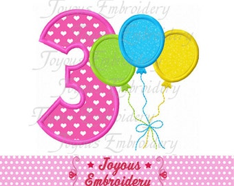 Instant Download  Balloon Number 3  Applique Embroidery Design NO:1670