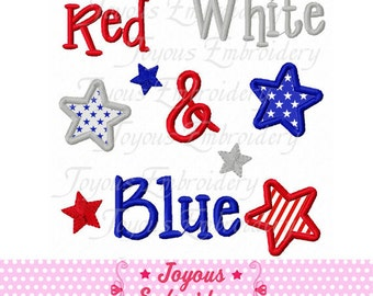 Instant Download Red White and Blue Applique Machine Embroidery Design NO:1741