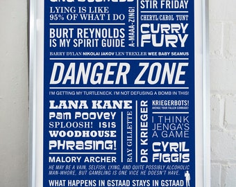 Archer Print, Typographic Print, Sterling Archer Art, TV Animation Print, Comedy Spy Print, Danger Zone Poster, Cult Print, Mate Gift