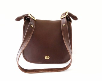 c20705ddae1f Vintage Coach Handbag Stewardess Bag Brown Leather Mahogany Brown Coach Bag  Shoulder Bag Made In United States Style 9525 Crossbody Bag