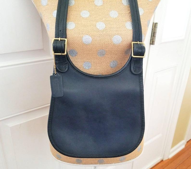 adef94194366 Vintage Coach Bag Blue Leather Crossbody Bag Shoulder Bag | Etsy