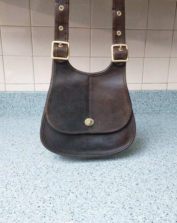 8c7dd3aea0b1 Vintage Coach Handbag Cresent Bag Brown Leather Shoulder Bag | Etsy