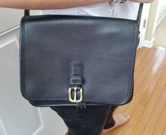 a7c38804770e Vintage Coach Bag Black Leather Medium Saddle Pouch Saddle Bag