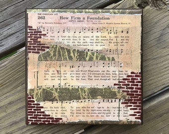 How Firm A Foundation - ORIGINAL Collage Hymn Artwork on Canvas