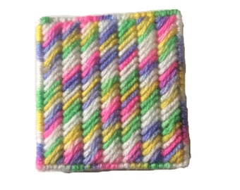 Colorful Sticky Notepad Holder, Multicolored Notebook Cover in Plastic Canvas, pink, yellow, green, purple,white stati