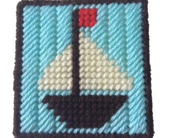 Sailboat Notepad Holder,  Boat Sticky Note Cover in Plastic Canvas