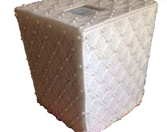 Wedding Tissue Box Cover, White Beaded Tissue Topper, White Tissue Cozy in Plastic Canvas