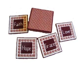 Faith, Hope, Love, Grace Coasters with Box, Burgandy and Rose Mug Rug Set