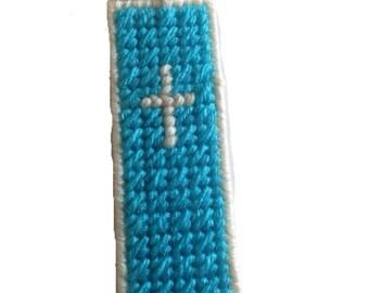 Plastic Canvas Cross Bookmark with Tassel, Christian Bookmark,