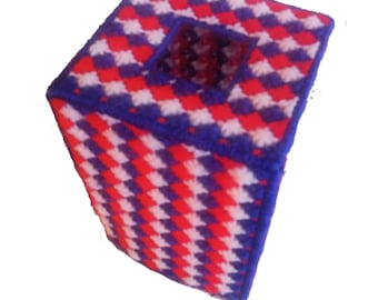 PATTERN: Patriotic tissue box cover plastic canvas pattern, Red, White and Blue Tissue Cover Pattern  Plastic Canvas Pattern