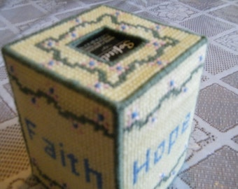 Grace, Faith, Hope, Love Tissue Box Cozy in Yellow, christian tissue cover, religious gift