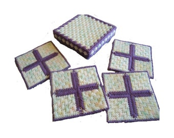 Plastic Canvas Purple Cross Easter Coasters with Box