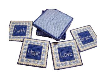 Plastic Canvas Faith, Hope, Love, Grace Coasters with Box, Christian Coaster Set